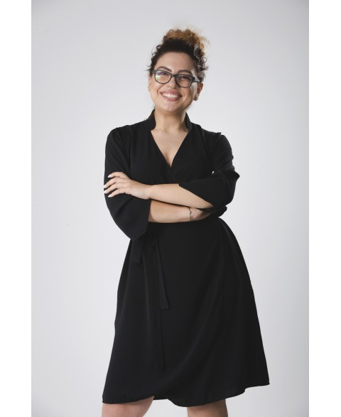 Anna | Collared Wrap Dress in black