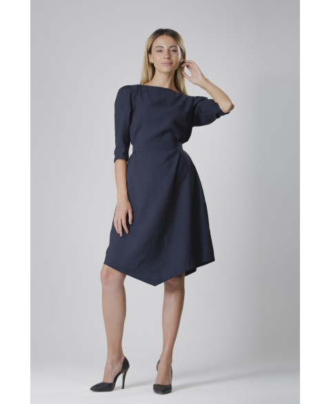 Teresa | Belted angle dress in navy blue