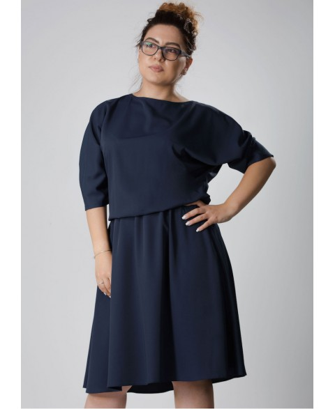 Anahit | Drapey dress in navy blue