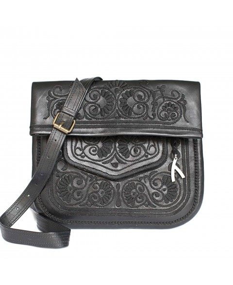 Embroidered Leather Berber Bag in Black