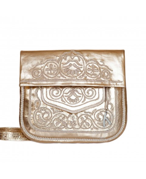 Embroidered Leather Berber Bag in Gold, Beige