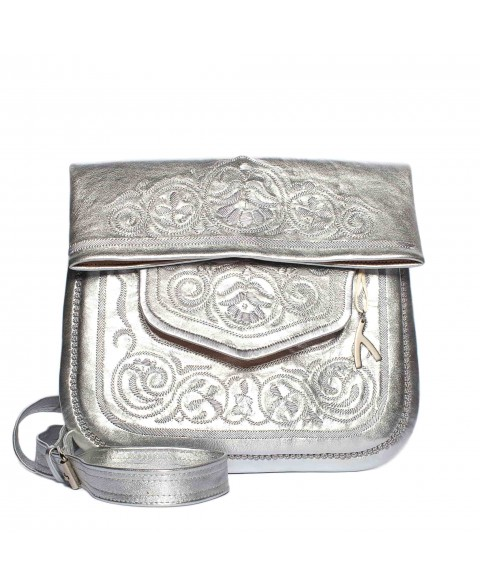 Embroidered Leather Berber Bag in Silver