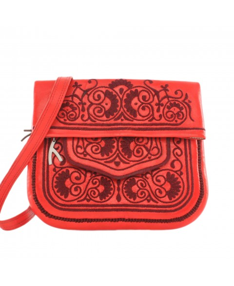 Embroidered Leather Berber Bag in Red