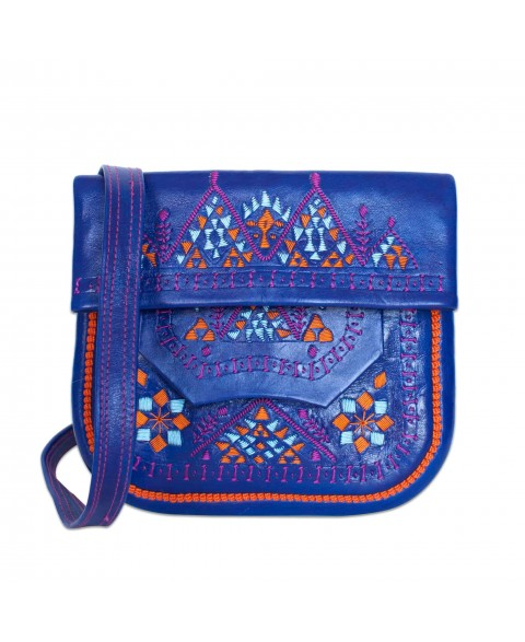 Embroidered Triangle Leather Berber Bag in Blue