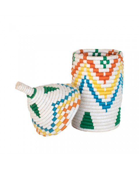 Handwoven Storage Basket with Pyramid Pattern (Green)