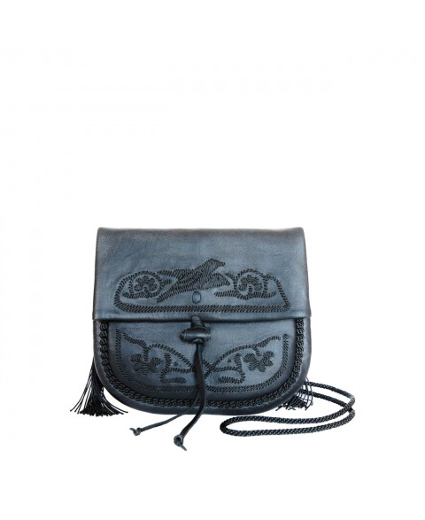 Embroidered Mini Crossbody Bag in Black
