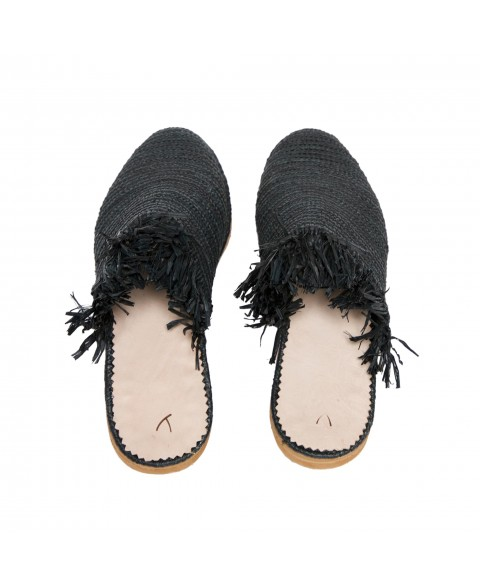 Raffia Slippers with Fringes in Black, Black