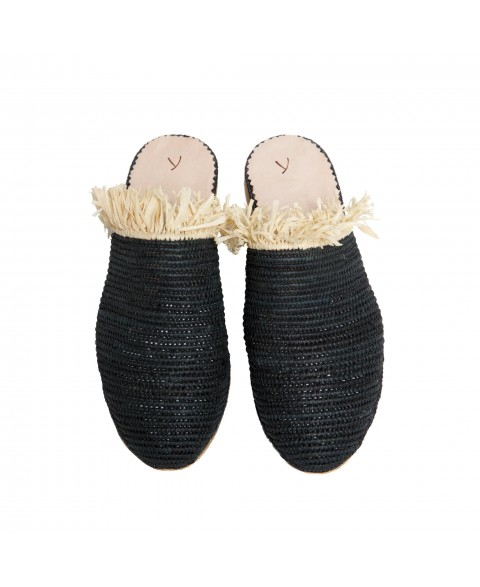 Raffia Slippers with Fringes in Black, Beige