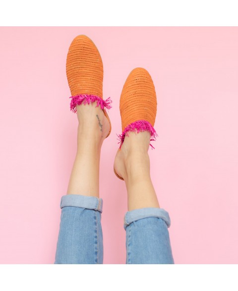 Raffia Slippers with Fringes in Orange, Pink