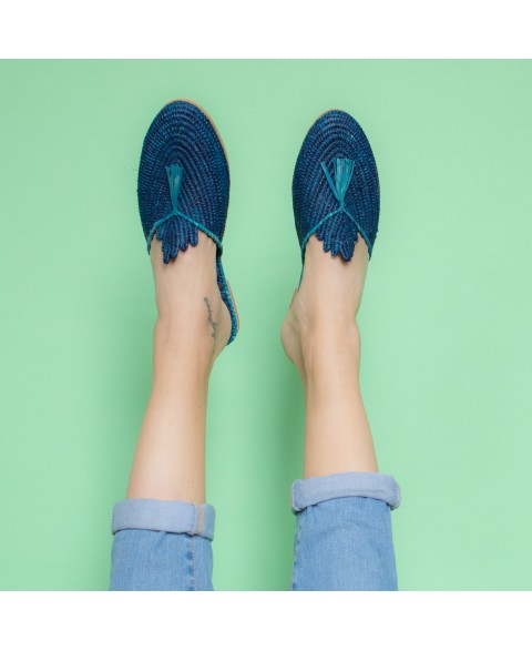 Raffia Slippers with Tassle in Blue, Turquoise