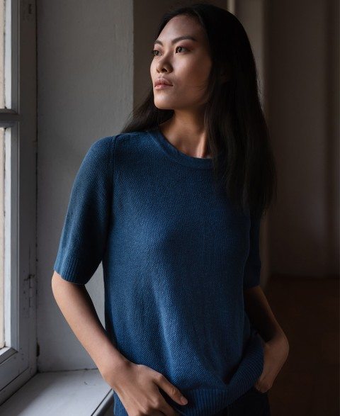 ANEMONE  - ORGANIC COTTON ROUND NECK JUMPER Indigo