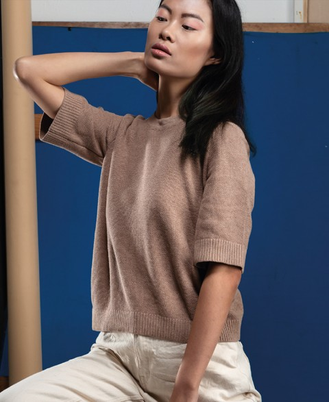 ANEMONE  - ORGANIC COTTON ROUND NECK JUMPER Beige