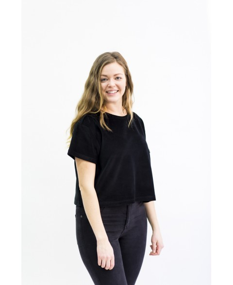 Velour T-Shirt - Black Velvet