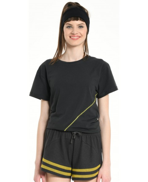 TEE SHIRT DARK GREY DIAGONALE SEWING YELLOW