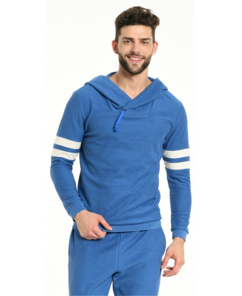 HOODIE BLUE WITH OFF WHITE STRIPS