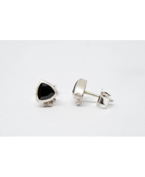 Silver earrings with black Spinelle