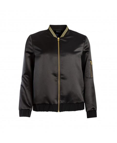 Panthera Bomber Jacket Black Satin